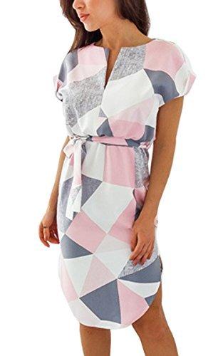 ECOWISH Sommerkleider Damen Kurzarm V-Ausschnitt Strand Blumen Kleider Abendkleid Knielang Rosa S - 1