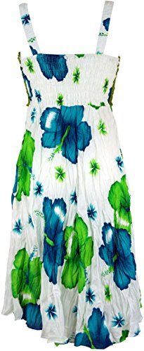 Guru-Shop Boho Minikleid, Sommerkleid Hawaii, Krinkelkleid, Damen, Weiß/Lemon, Synthetisch, Size:38, Kurze Kleider Alternative Bekleidung - 2