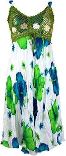 Guru-Shop Boho Minikleid, Sommerkleid Hawaii, Krinkelkleid, Damen, Weiß/Lemon, Synthetisch, Size:38, Kurze Kleider Alternative Bekleidung - 1
