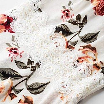 HOMEYEE Damen Vintage Rundhalsausschnitt ärmellosen Blumen Bestickt knielangen Cocktailkleid UKA079 (EU 40 = Size L, Weiß + Blumen) - 3