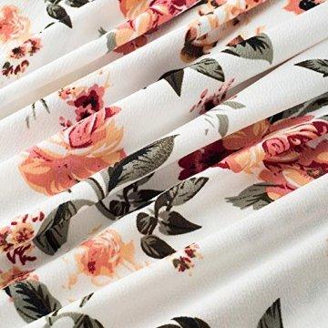 HOMEYEE Damen Vintage Rundhalsausschnitt ärmellosen Blumen Bestickt knielangen Cocktailkleid UKA079 (EU 40 = Size L, Weiß + Blumen) - 5