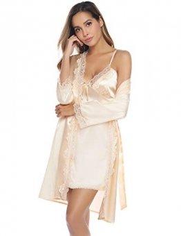 iClosam Damen Nachthemd Sexy Nachtkleid Zwei Stücke Sleepwear Set Trägerkleid Satin Morgenmantel Chemise Pyjama V Aussschnitt Schlafshirt mit Gürtel Spitze Patchwork für Sommer - 1