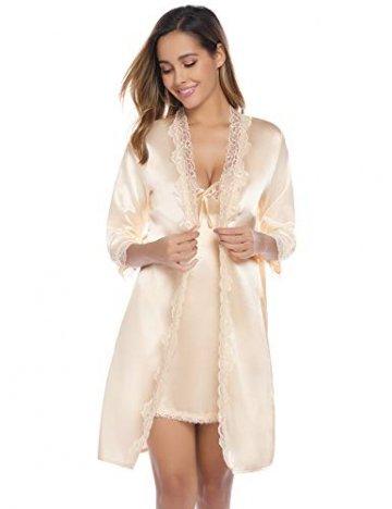 iClosam Damen Nachthemd Sexy Nachtkleid Zwei Stücke Sleepwear Set Trägerkleid Satin Morgenmantel Chemise Pyjama V Aussschnitt Schlafshirt mit Gürtel Spitze Patchwork für Sommer - 6