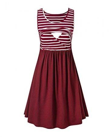 Love2Mi Damen Umstandskleid Streifen Stillkleid Ärmellos Schwangere Sommerkleid-Weißer Streifen / Weinrot-XL - 2