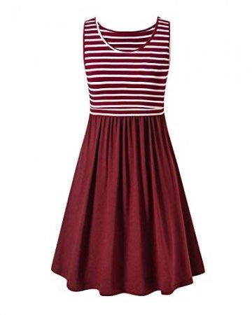 Love2Mi Damen Umstandskleid Streifen Stillkleid Ärmellos Schwangere Sommerkleid-Weißer Streifen / Weinrot-XL - 4