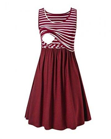 Love2Mi Damen Umstandskleid Streifen Stillkleid Ärmellos Schwangere Sommerkleid-Weißer Streifen / Weinrot-XL - 1