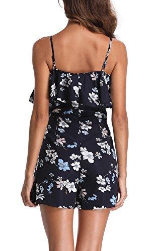 Miss Moly Damen Jumpsuit Ärmellos Sommerkleid Blumenmuster Mini Schulter, Strandkleid,Marine,X-Small(DE 36) - 2