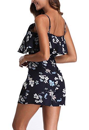 Miss Moly Damen Jumpsuit Ärmellos Sommerkleid Blumenmuster Mini Schulter, Strandkleid,Marine,X-Small(DE 36) - 3