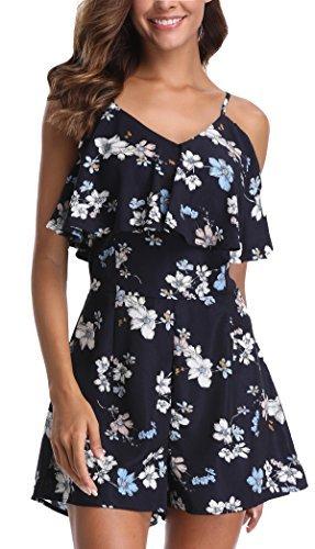 Miss Moly Damen Jumpsuit Ärmellos Sommerkleid Blumenmuster Mini Schulter, Strandkleid,Marine,X-Small(DE 36) - 1