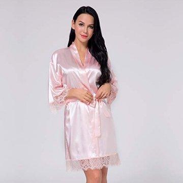 Nachtwäsche Damen Morgenmantel Kimono Robe Satin Kurze Bademantel Mit Spitze Für Frauen Rose 3XL - 2