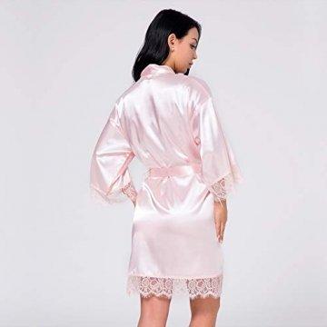 Nachtwäsche Damen Morgenmantel Kimono Robe Satin Kurze Bademantel Mit Spitze Für Frauen Rose 3XL - 3