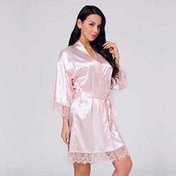 Nachtwäsche Damen Morgenmantel Kimono Robe Satin Kurze Bademantel Mit Spitze Für Frauen Rose 3XL - 4