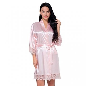 Nachtwäsche Damen Morgenmantel Kimono Robe Satin Kurze Bademantel Mit Spitze Für Frauen Rose 3XL - 1
