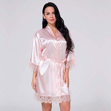 Nachtwäsche Damen Morgenmantel Kimono Robe Satin Kurze Bademantel Mit Spitze Für Frauen Rose 3XL - 5