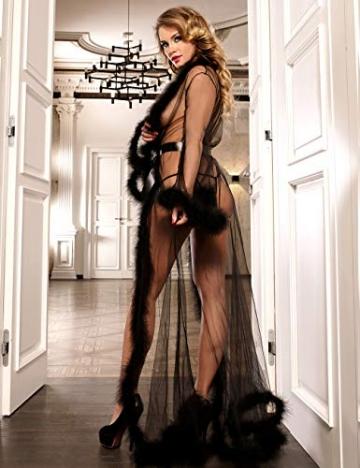 ohyeahlady Frauen Sexy Dessous Transparente Robe Spitze Durchsichtig Nachtkleid mit Gürtel Sleepwear Cardigan Hausmantel Lange Nachthemd(Schwarz,XL=EUR 40-42) - 2