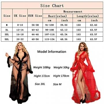 ohyeahlady Frauen Sexy Dessous Transparente Robe Spitze Durchsichtig Nachtkleid mit Gürtel Sleepwear Cardigan Hausmantel Lange Nachthemd(Schwarz,XL=EUR 40-42) - 3