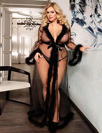 ohyeahlady Frauen Sexy Dessous Transparente Robe Spitze Durchsichtig Nachtkleid mit Gürtel Sleepwear Cardigan Hausmantel Lange Nachthemd(Schwarz,XL=EUR 40-42) - 4