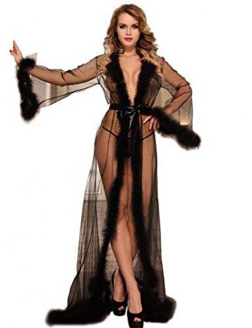 ohyeahlady Frauen Sexy Dessous Transparente Robe Spitze Durchsichtig Nachtkleid mit Gürtel Sleepwear Cardigan Hausmantel Lange Nachthemd(Schwarz,XL=EUR 40-42) - 1