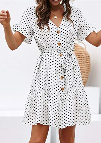 Sommerkleid Damen Kurzarm Elegant V-Ausschnitt Knopfleiste Polka Dot Kurze Strand Freizeitkleider mi Gürtel (1-Dot-Weiß, Medium) - 3