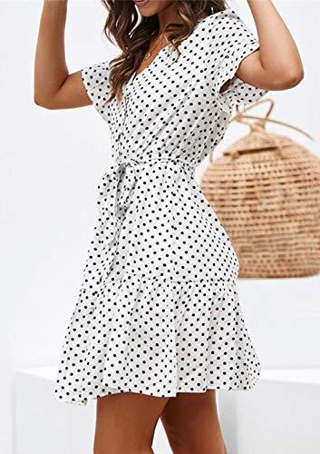 Sommerkleid Damen Kurzarm Elegant V-Ausschnitt Knopfleiste ...