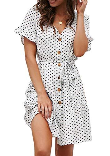 Sommerkleid Damen Kurzarm Elegant V-Ausschnitt Knopfleiste Polka Dot Kurze Strand Freizeitkleider mi Gürtel (1-Dot-Weiß, Medium) - 1