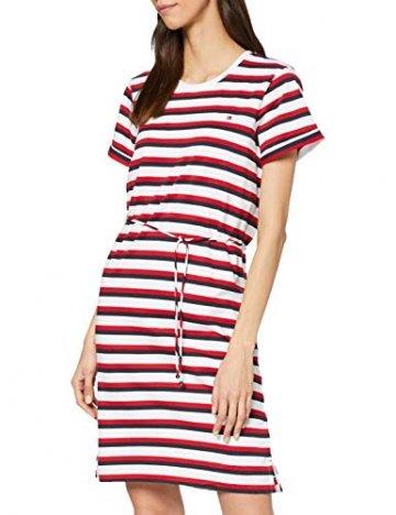 Tommy Hilfiger Damen Angela Regular Stpc-nk Dress Ss Kleid, Weiß (Knits Multi STP/White 0Fg), 32 (Herstellergröße: X-Small) - 1