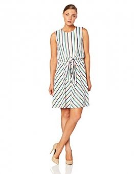 Tommy Hilfiger Damen Barbara Knot Dress NS Kleid, Weiß (Colorful Banker STP/Classic White 122), X-Small (Herstellergröße: 4) - 1