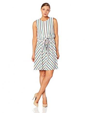 Tommy Hilfiger Damen Barbara Knot Dress NS Kleid, Weiß (Colorful Banker STP/Classic White 122), X-Small (Herstellergröße: 4) - 1