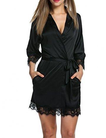 Unibelle Damen Morgenmantel Bademantel Satin Sexy Kimono mit Taschen Kurz Robe mit Gürtel Nachthemd für Braut Nachtwäsche Mit Blumenspitze - 1