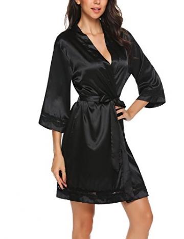 Unibelle Morgenmantel Damen Kimono Satin Bademantel Kurz Seide Roben Nachtwäsche V Ausschnitt Mit Blumenspitze Schwarz-L - 2