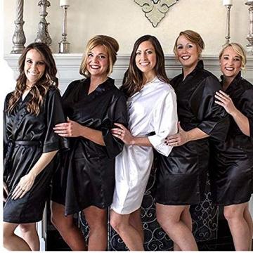 Unibelle Morgenmantel Damen Kimono Satin Bademantel Kurz Seide Roben Nachtwäsche V Ausschnitt Mit Blumenspitze Schwarz-L - 3