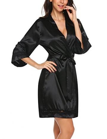 Unibelle Morgenmantel Damen Kimono Satin Bademantel Kurz Seide Roben Nachtwäsche V Ausschnitt Mit Blumenspitze Schwarz-L - 5