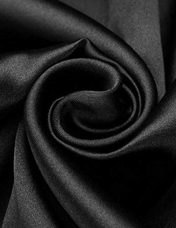Unibelle Morgenmantel Damen Kimono Satin Bademantel Kurz Seide Roben Nachtwäsche V Ausschnitt Mit Blumenspitze Schwarz-L - 7