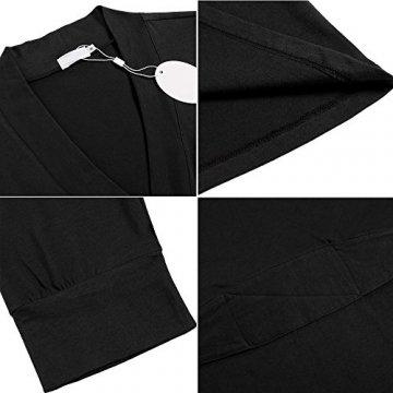 Unibelle Morgenmantel Damen Kurz aus Baumwolle Dünn 3/4 Ärmel Bademantel Kimono Saunamantel Robe Negligee Mit V-Ausschnitt Sommer - 6
