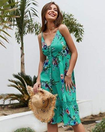 X&Armanis Beiläufig Kleid, Spitze V-Ausschnitt Spitzenkleid sexy Sommerkleid Riemen,Grün,M - 2