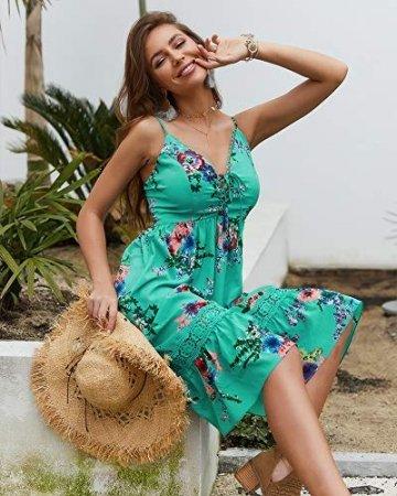 X&Armanis Beiläufig Kleid, Spitze V-Ausschnitt Spitzenkleid sexy Sommerkleid Riemen,Grün,M - 3