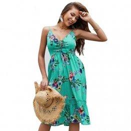 X&Armanis Beiläufig Kleid, Spitze V-Ausschnitt Spitzenkleid sexy Sommerkleid Riemen,Grün,M - 1