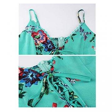 X&Armanis Beiläufig Kleid, Spitze V-Ausschnitt Spitzenkleid sexy Sommerkleid Riemen,Grün,M - 4