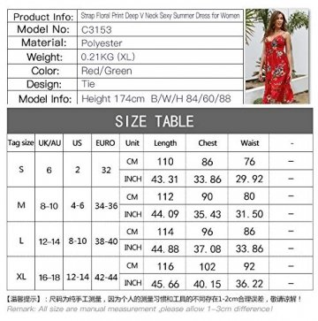 X&Armanis Beiläufig Kleid, Spitze V-Ausschnitt Spitzenkleid sexy Sommerkleid Riemen,Grün,M - 6