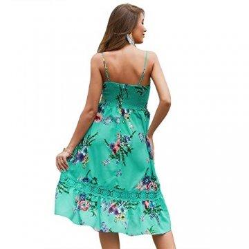 X&Armanis Beiläufig Kleid, Spitze V-Ausschnitt Spitzenkleid sexy Sommerkleid Riemen,Grün,M - 7