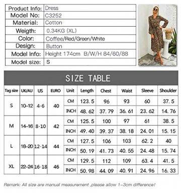 X&Armanis Die langärmelige Kleid, Baumwolle V-Ausschnitt Leoparden-Print Kleid lässig Sommerkleid,Grün,XL - 2