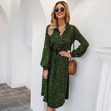 X&Armanis Die langärmelige Kleid, Baumwolle V-Ausschnitt Leoparden-Print Kleid lässig Sommerkleid,Grün,XL - 3