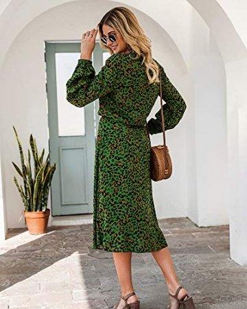 X&Armanis Die langärmelige Kleid, Baumwolle V-Ausschnitt Leoparden-Print Kleid lässig Sommerkleid,Grün,XL - 4