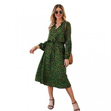 X&Armanis Die langärmelige Kleid, Baumwolle V-Ausschnitt Leoparden-Print Kleid lässig Sommerkleid,Grün,XL - 1