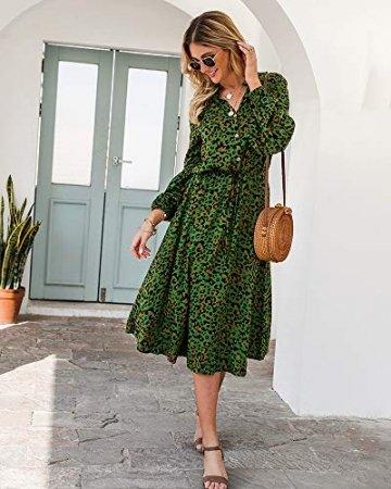 X&Armanis Die langärmelige Kleid, Baumwolle V-Ausschnitt Leoparden-Print Kleid lässig Sommerkleid,Grün,XL - 5
