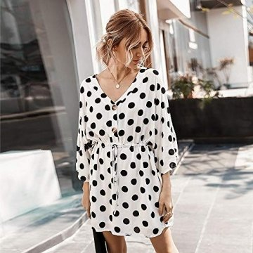 X&Armanis Polka-Punkt-Druckkleid, sexy V-Ausschnitt Baumwollkleid beiläufiges Sommerkleid Ärmel,Weiß,XL - 2