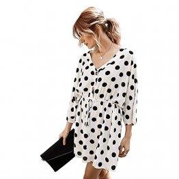 X&Armanis Polka-Punkt-Druckkleid, sexy V-Ausschnitt Baumwollkleid beiläufiges Sommerkleid Ärmel,Weiß,XL - 1