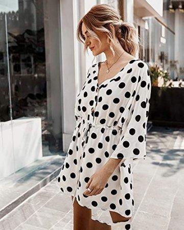 X&Armanis Polka-Punkt-Druckkleid, sexy V-Ausschnitt Baumwollkleid beiläufiges Sommerkleid Ärmel,Weiß,XL - 5
