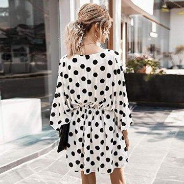 X&Armanis Polka-Punkt-Druckkleid, sexy V-Ausschnitt Baumwollkleid beiläufiges Sommerkleid Ärmel,Weiß,XL - 6