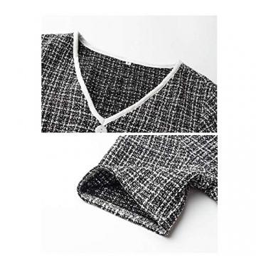 X&Armanis Temperament Sommerkleid, Retro Kariertes nähen Kleid sexy V-Ausschnitt Kleid,schwarz,L - 3